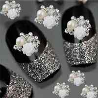 10Pcs 3D Rhinestone Alloy Jewelry Rose Charm DIY Decoration Tips Nail Art Decor