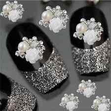 10Pcs 3D Alloy Rhinestone Glitter Rose Charm Stickers Nail Art DIY Decoration