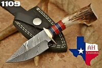 HAND FORGED DAMASCUS STEEL HUNTING KNIFE W/ STAG & BRASS GUARD HANDLE AH-1109