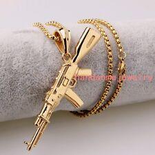 Fashion Stainless Steel AK 47 Gun 18K Gold Men Women Pendant Necklace Box Chain