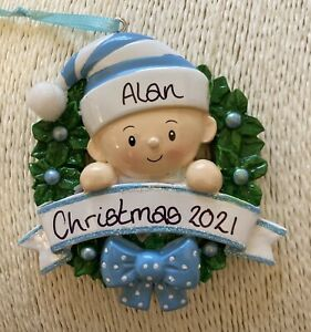 Personalised Baby's First Christmas Tree Decoration Bauble Blue Boy Wreath