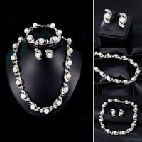 Hochzeit Braut Brautjungfer Kristall Perle Frauen Halskette Ohrringe Schmuck 1 S