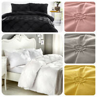 Signature ELISSA Bedding Set - 100% Cotton Ruched Rosette Duvet Cover Pillowcase