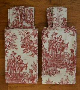 Set of 2 Waverly Red Toile Fabric Tab Top Panel Curtains 50x94 ea ~ Country Life