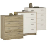 Crescita 4 Drawer Chest in Oak or White Living Cabinet Bedroom Storage Elegant