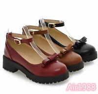 Womens Mary Jane Lolita Buckle Block Heels Shoes Platform Bowtie Round toe Pumps