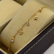 "18K Yellow Gold Filled Bracelet Chain 9.8""Anklet Star Link GF CZ Fashion Jewelry"