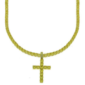 14K Gold Finish Yellow Lab Diamond Cross 4mm Canary Tennis Chain 1 Row Necklace