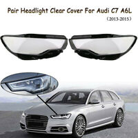 Pair Left Right Front Headlight Lamp Clear Cover Lens For Audi C7 A6L 2013-2015