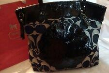 COACH Laura Black Sateen Canvas w/Patent Leather Trim XL Tote Shopper  Bag