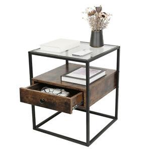 Nachttisch Beistelltisch Sofatisch Glastisch mit Schublade 43*43*54cm DHL