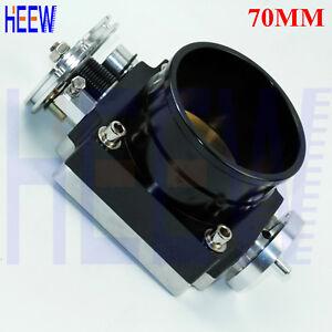 "Universal High Flow Aluminum Intake Manifold 70MM 2.75"" Throttle Body 1PCS Black"