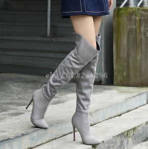 Overkneestiefel Damen Schuhe Spitz Zehe Boots Stilettoabsatz Schuhe Stiefel Mode