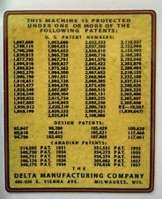 DELTA PATENT DECAL  -  for vintage Delta machinery - badge, nameplate, or tag