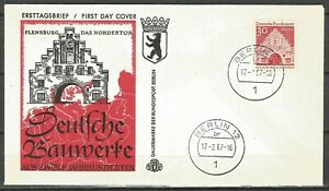 Germany Berlin 1967 FDC 12 Cent. German Architecture North Gate Flensburg 30 Pf