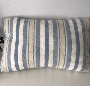 """Laura Ashley Blue Stripe Textured Cushions With Plump Feather Pads 22""""x14"""""""
