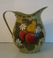 Tole Ware Metal  Water Pitcher Shabby Green w Fruit Hand Painted