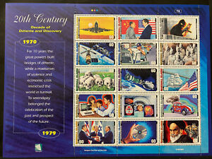 20TH CENTURY SHEET 15 stamps 1970-79, MARSHALL ISLANDS 1999 Postage $0.60 MNH