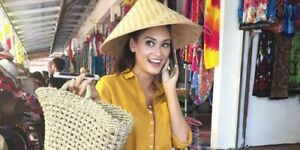 Indonesian Asian Hand Woven Bamboo Farmer Hat / Outdoor Sun Hat