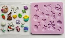 EASTER SET SILICONE MOULD FOR CAKE TOPPERS, CHOCOLATE, CLAY ETC