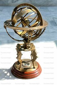 """Antique Nautical 18"""" With Compass Vintage Armillary Globe Brass Sphere Engraved"""
