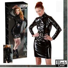 Mini abito in vinile lucido nero Black Level Sexy shop fetish lingerie donna TOY