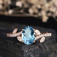 Fashion Women 14K Solid Rose Gold Aquamarine Ring Wedding Party Women's Jewelry
