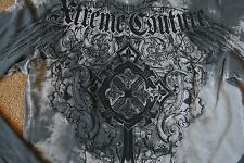 AFFLICTION EXTREME COUTURE Thermal Shirt XXL NWOT$94 Shaded Grey-Amazing Graphic