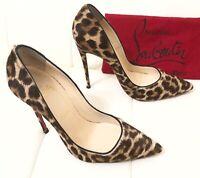 CHRISTIAN LOUBOUTIN So Kate Leopard Pony Hair Pump Shoes Sz 39 Us 8.5