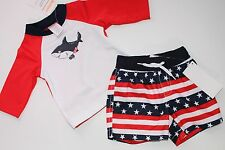 Gymboree Boys Boy Swim Suit Bottoms Trunks Rash Top NWT Size 3-6 M Set Shark