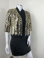 Sequin Jacket Fits UK 8 10 12 Black Gold Christmas New Year Party Cocktail Smart