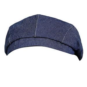 Women Men Cool Stripes Denim Chef Hat Cooker   Waiter Baker Head Wrap
