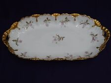 """Antique LS&S Limoges France Pink Roses w/Heavy Gold Bread handled Tray 16"""""""