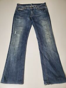 7 for All Mankind Womens Distressed Medium Wash Blue Bootcut Denim Jeans Size 31
