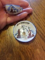 Old Vintage Miniature New York City Tea Cup And Saucer Plate Hand Painted Rare