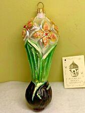 Patricia Breen Springtime Flower Orange Glitter Blown Glass Ornament 1995 #9555