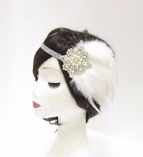 Silver White Pearl Feather Headpiece 1920s Headband Flapper Great Gatsby 2805