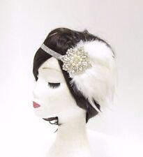 Silber Weiße Perle Feder Kopfteil 1920er Jahre Stirnband Flapper Große Gatsby