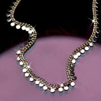 18k yellow gold gp curb chain necklace round tinsel fashion jewelry 36 to 41cm