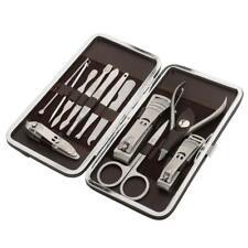 12pcs Kit Outils Complets Manucure Pédicure en Acier Inox, Cure Oreille