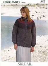 "SIRDAR KNITTING PATTERN,LADIES' CHUNKY KNIT FAIR ISLE YOKE CARDIGAN BUST 26-40""."
