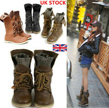 Womens Ladies Motorcycle Boots Leather Mid Calf Lace Up Ankle Flat Shoes Size
