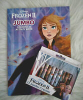 NEW DISNEY FROZEN II Jumbo Coloring Activity Book ANNA & ELSA + 12 JUMBO CRAYONS