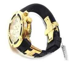 AQUA MASTER 100% Real Diamond Men's Watch El Russo Gold-Tone Black Rubber Band