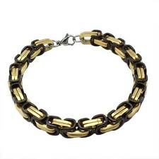 "Byzantine Stainless Steel 8.5"" Men's Bracelet Black Rhodium & 18K Yellow GP"
