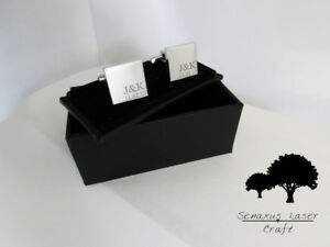 Engraved Silver Cufflinks & Personalised Gift Box Cuff Links Best Man scls6