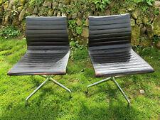 Genuine Vitra Charles Eames Chair EA108 - Black Leather Swivel Desk Office Chair