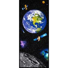 "24""x56"" Fabric Panel - Benartex Want My Space Earth Moon Planet Wallhanging"