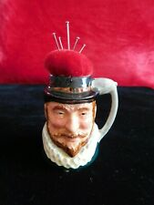 Vintage miniature pottery Tankard pin cushion Sir Walter Raleigh