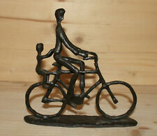 Vintage modernist hand made metal figurine man with bicycle